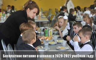 Бесплатное питание в школах в 2020-2021 учебном году