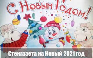 Плакат (стенгазета) на Новый год 2021 Быка своими руками