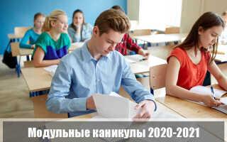Каникулы: модульная система 2020-2021